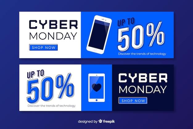 Platte cyber maandag banners en verkoopaanbiedingen