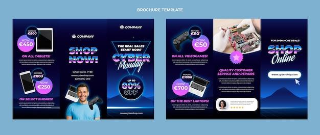 Platte cyber maandag driebladige brochuresjabloon