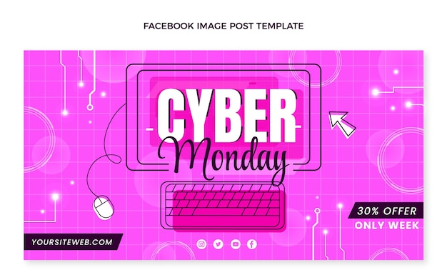 Platte cyber maandag social media postsjabloon