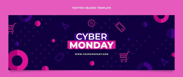 Platte cyber maandag twitter voorbladsjabloon