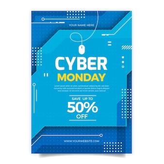Platte cyber maandag verticale postersjabloon