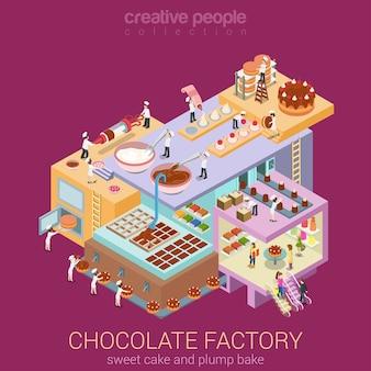 Platte d isometrische abstracte chocoladefabriek gebouw vloeren interieur afdelingen concept