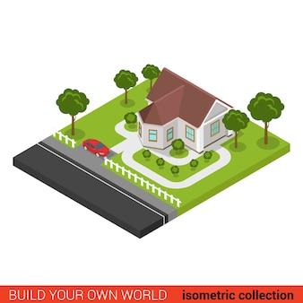 Platte d isometrische creatieve moderne gezinswoning parkeerplaats bouwsteen info grafisch concept