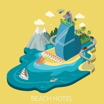 Platte d isometrische creatieve strandhotel web infographics reizen vakantie concept