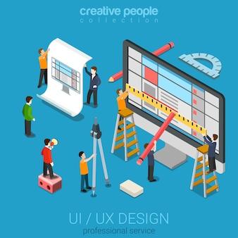 Platte d isometrische desktop uiux ontwerp web infographic concept
