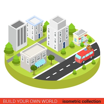 Platte d isometrische hippiebestelwagen in modern de info grafisch concept van de stadsstraat