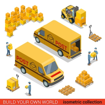 Platte d isometrische postdienst magazijnpersoneel bestelwagen laadconcept