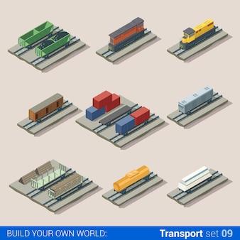Platte d isometrische spoorweg locomotief vervoer stortbak tank transport bouwsteen infographic set