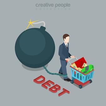Platte d isometrische stijl schuldbom concept web infographics vector illustratie man aandrijfwiel winkelwagen en brandende bol bom lont geketend aan been creatieve mensen collectie