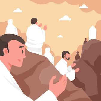 Platte dag van arafah viering illustratie