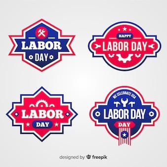 Platte dag van de arbeid badge-collectie