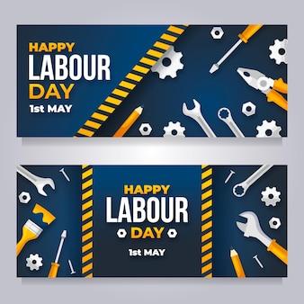 Platte dag van de arbeid banners instellen