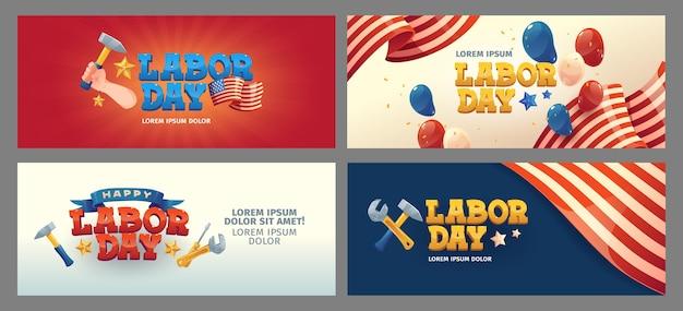 Platte dag van de arbeid banners set