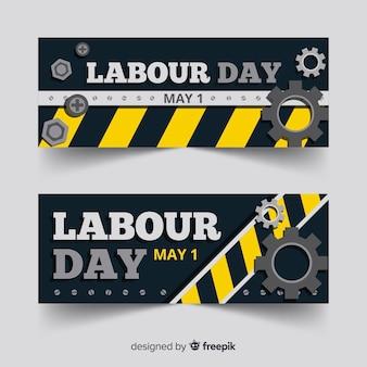 Platte dag van de arbeid banners