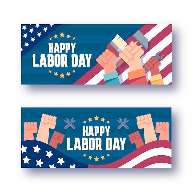 Platte dag van de arbeid horizontale banners set