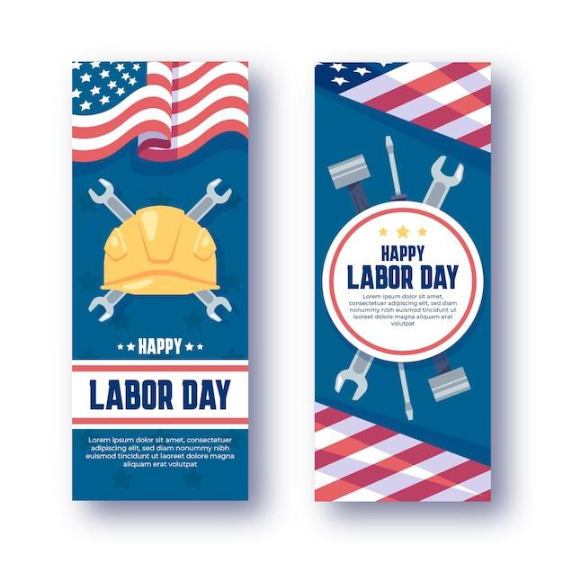 Platte dag van de arbeid verticale banners set