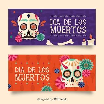 Platte dag van de dode banners