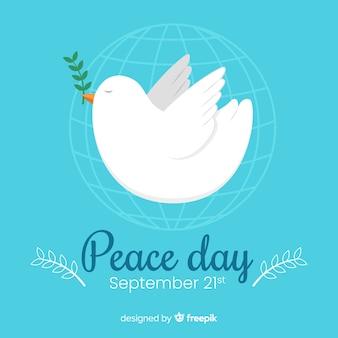 Platte dag van vrede met duif