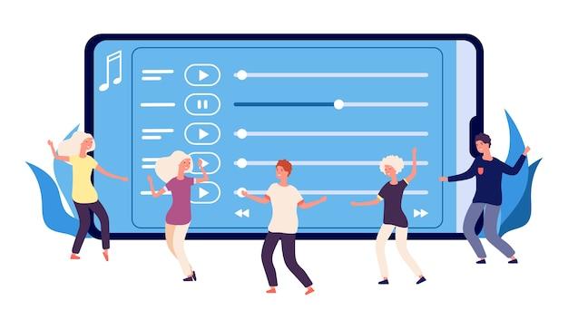 Platte dansers en online muziekafspeellijst
