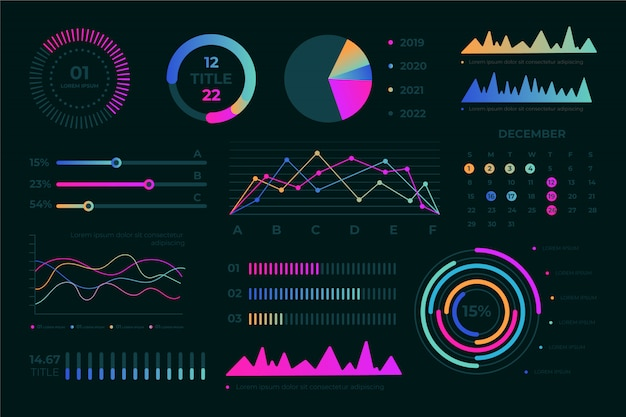 Platte dashboard element collectie met kleurrijke infographics.