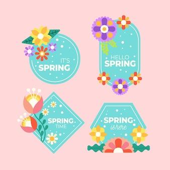 Platte design badge-collectie voor lente seizoen