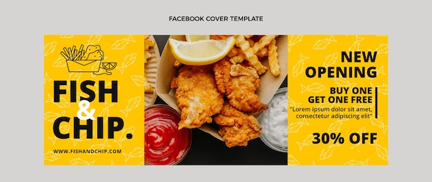 Platte design fish and chips food facebook cover