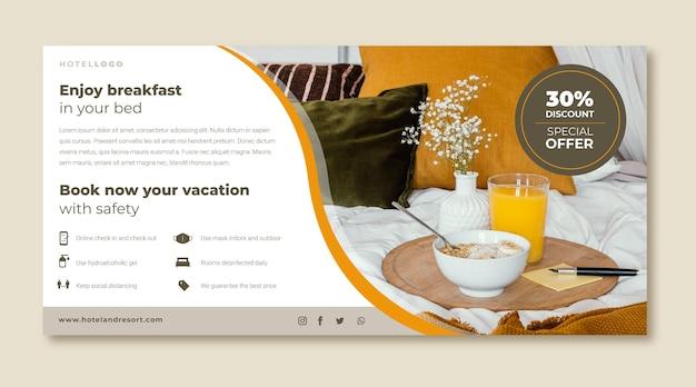 Platte design hotel banner met foto