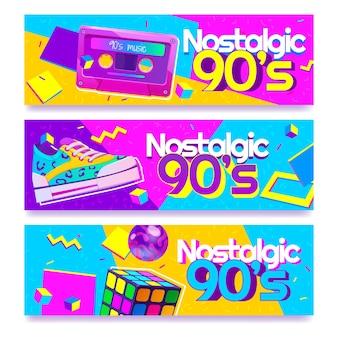Platte design nostalgische 90's banners Gratis Vector