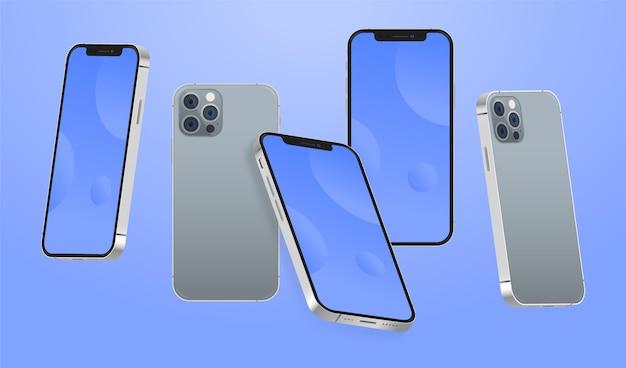 Platte design telefoon in verschillende perspectieven