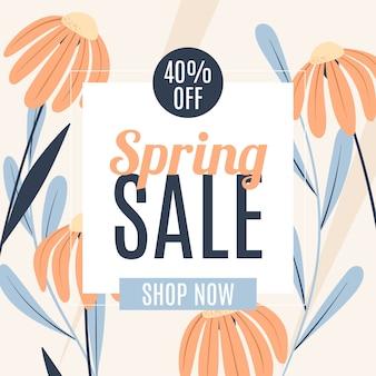 Platte design voorjaarsuitverkoop met pastelkleurige bloemen