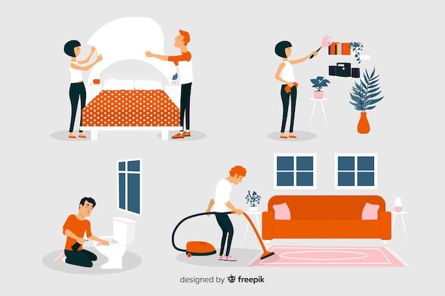 Platte designpersonages die het huis regelen en schoonmaken