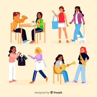 Platte designpersonages zijn meisjesachtig hobby's