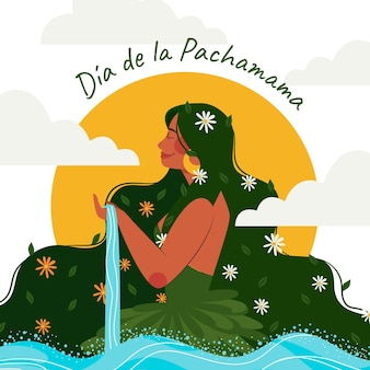 Platte dia de la pachamama illustratie