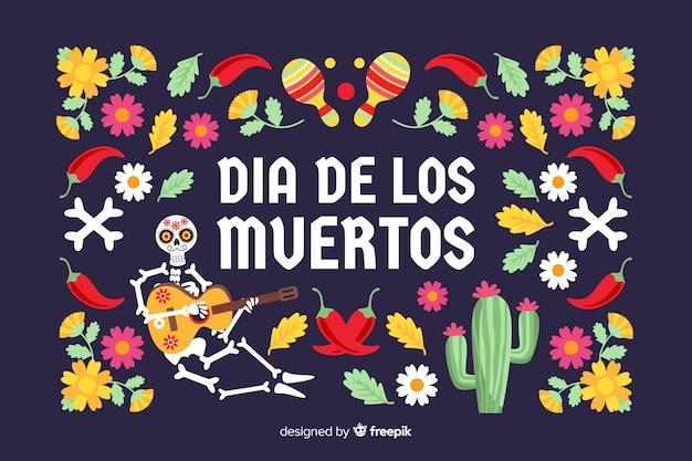 Platte día de muertos achtergrond met cactussen en bloemen