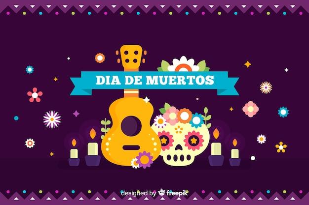 Platte día de muertos achtergrond met gitaar en schedel