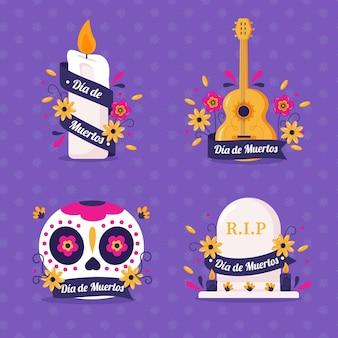 Platte dia de muertos badges collectie