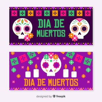 Platte día de muertos banners in violette tinten
