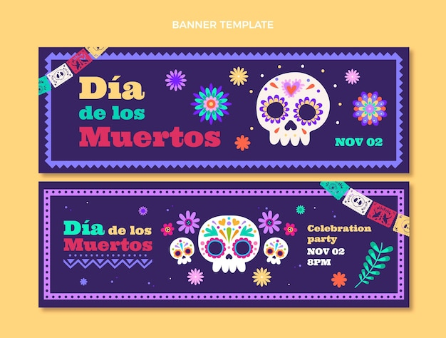 Platte dia de muertos horizontale banners set