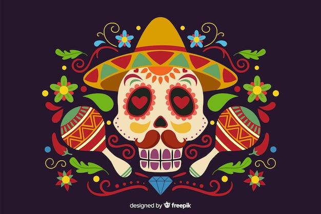 Platte día de muertos met schedel en maracas achtergrond