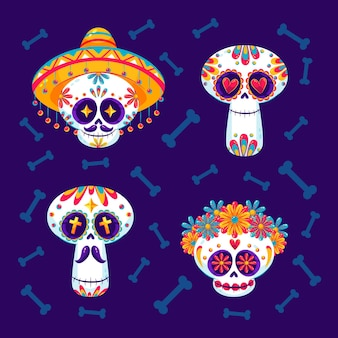 Platte dia de muertos schedels collectie