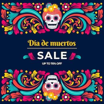 Platte dia de muertos verkoop illustratie