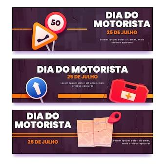 Platte dia motorista-banners instellen