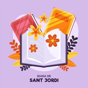 Platte diada de sant jordi illustratie met bloemen en boeken