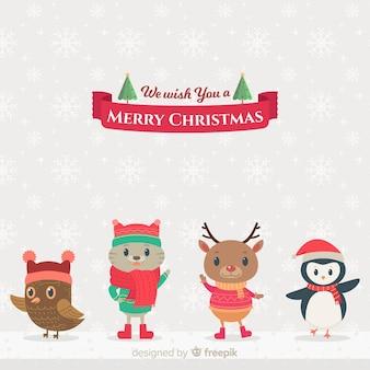 Platte dieren kerstmis achtergrond