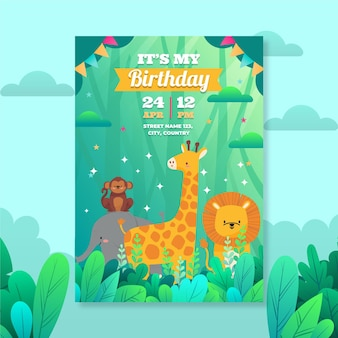 Platte dieren verjaardag uitnodiging sjabloon
