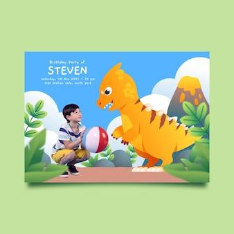 Platte dinosaurus verjaardag uitnodiging sjabloon met foto