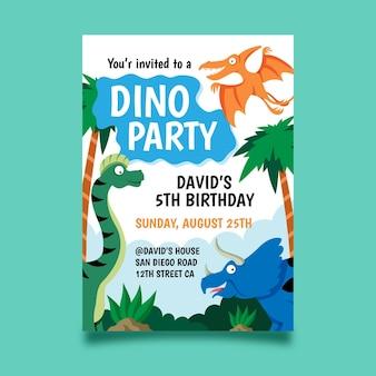 Platte dinosaurus verjaardag uitnodiging sjabloon