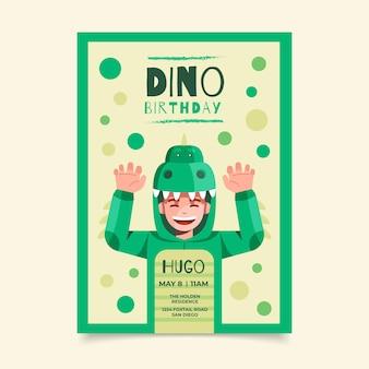 Platte dinosaurus verjaardagsuitnodiging