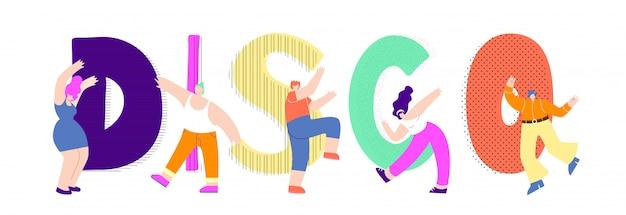 Platte disco tekst dansende man vrouw vector ontwerp