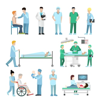 Platte diversiteit aan medische spullen en uitrusting. gezondheidszorg, professioneel hulpconcept. echografie, chirurg, therapeut, verpleegster en babypersonages.